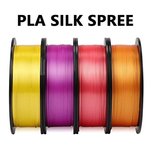 Hello PLA Silk Filament 1.75mm,Yellow Purple Red Orange 1kg,PLA Printing Filament Set,Tolerance ±0.02