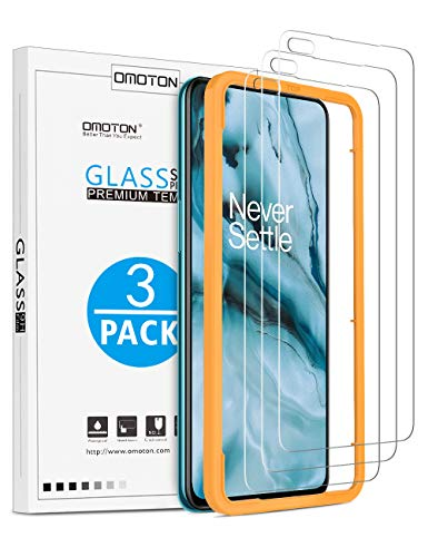 OMOTON [3 Stück] Panzerglas Schutzfolie für OnePlus Nord mit Schablone-Installationshilfe, [Anti- Kratzer], [Bläschenfrei], [9H Härte], [HD-Klar]