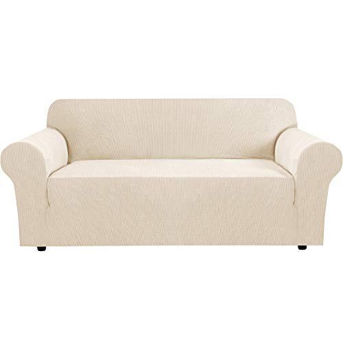 BellaHills Fundas de sofá elásticas Fundas de sofá de 3 plazas para Sala de Estar Fundas de sofá Fundas con Fondo elástico, Tela Jacquard Gruesa Suave Lavable (sofá de 3 plazas, Natural)