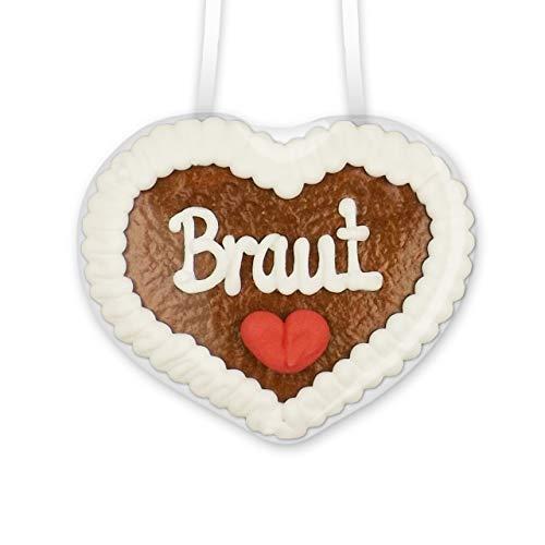 Lebkuchenherz mit - Braut - Schriftzug - 8x8cm - Super Dekoration für den Junggesellinnenabschied