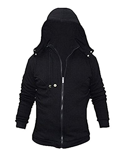 Newdong Christmas Black Jacket Hoodie Outfit Halloween Cosplay Costume (XL, Black)