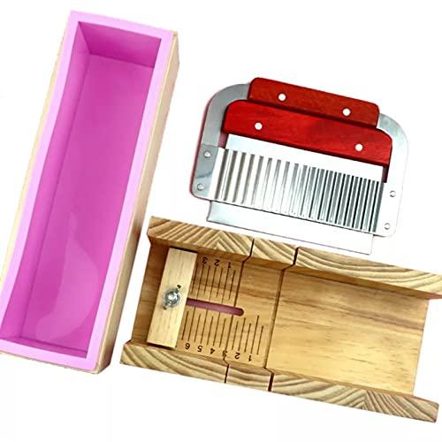 JUQIAO Moldes ajustables del jabón fijados con la caja de madera del acero inoxidable ondulado para hacer las velas del jabón suministros