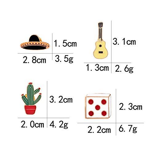 JTXZD broche DroBrooch emaille pan / cactus / gitaar / hoed / dobbelstenen broche kleding corsage pennen.