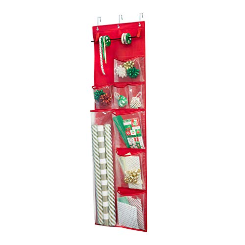 Honey-Can-Do SFT-08359 Red Over The Door Gift Wrap Organizer