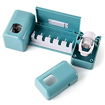Guiguiyue Bathroom Accessories Clock Automatic Toothpaste Dispenser Toothbrush Holder with Double Combination Set Wall Mount Rack Toothpaste Squeezers for Super Sticky Suction Pad  Blue