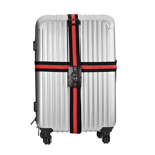 tinxi® TSA Nastro bagagli serratura di nastro bagagli cinghia dei bagagli a forma di Croce con Cinghie incrociate viaggio