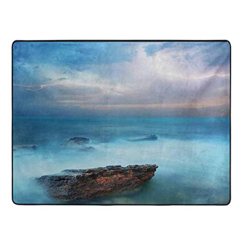 Nature Barefoot Area Rugs Tropic Sea with Rocks and Storm Flash in The Air Tranquil But Dangerous Epic Scenery Carpets for Children Bedroom 4' x 6' Turquoise