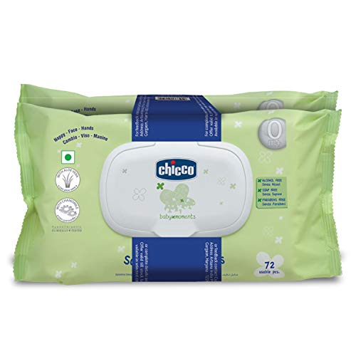 Chicco Baby Moments Soft Cleansing Baby Wipes, Ideal for Nappy, Face and Hand, Dermatologically Tested, Paraben Free, Fliptop Pack (Pack of 2, 72 Sheets per Pack)