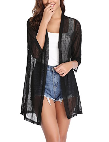 iClosam Women Casual 3/4 Sleeve Sheer Open Front Kimono Dressy Cardigan Sweater Shrugs(Black, XX-Large)