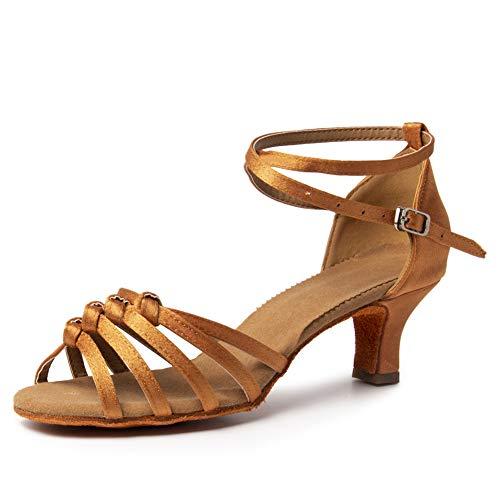 SWDZM Zapatos de Baile Latino para Mujer Baile de Salón Zapatos de Tango Salsa Samba Vals,Tacón-5CM,Modelo-MF1322,Marrón,35EU