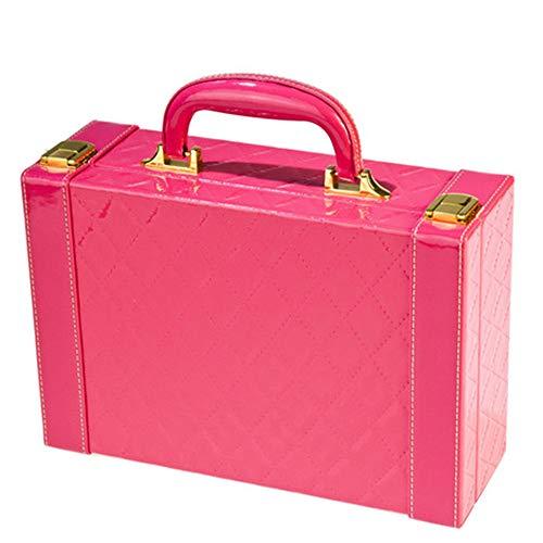 Sac Cosmétique Boîte à Bijoux Portable en Cuir Brillant Dames de boîte de Rangement Voyage à Domicile Portable 27 cm * 9 cm * 18 cm, Rose