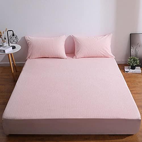 CYYyang Protector de Colchón   Capa Superior de algodón Transpirable Sábana de Cama Impermeable de algodón Stripes-Pink_48x74cm