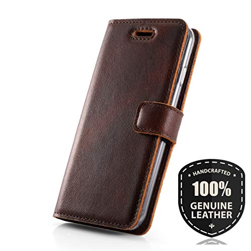 SURAZO Western Dark Brown - Premium Vintage Ledertasche Schutzhülle Wallet Case aus Echtesleder Nubukleder mit Kreditkarten/Notizen Fachern Farbe Braun Vintage Kollektion für LG G4 (5,50 Zoll)