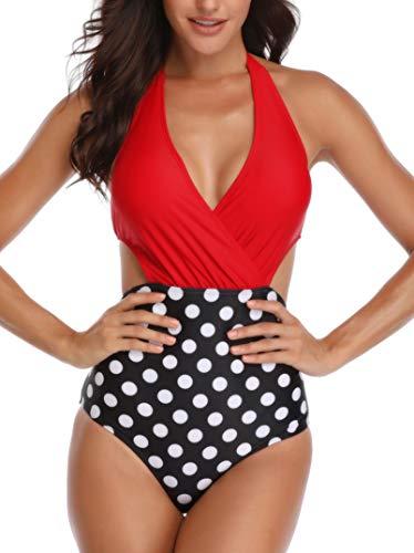 Dolphinfly Costume da Bagno Interi Monokini con Push-Up Elegante Bikini Beachwear da Mare Spiaggia Piscina(Punto Rosso XL)