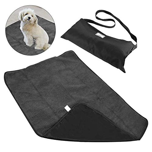 Hundedecke - Flauschig, Weich u. Waschbar,Decke für Haustier Wasserdichte und Plüsch Hundedecke Matte mit Tragbar Tragetasche für Hund Welpen Katze Innen Draussen Anwendungen-100 X 70cm Schwarz