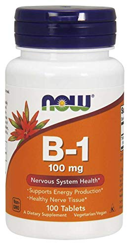 NOW Foods Vitamin B-1 (Thiamine) 100mg, 100 Tablets (Pack of 2)