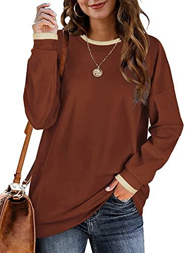 Long Sleeve Sweatshirts for Women Oversized Tunic Tops Lightweight Caramel XL