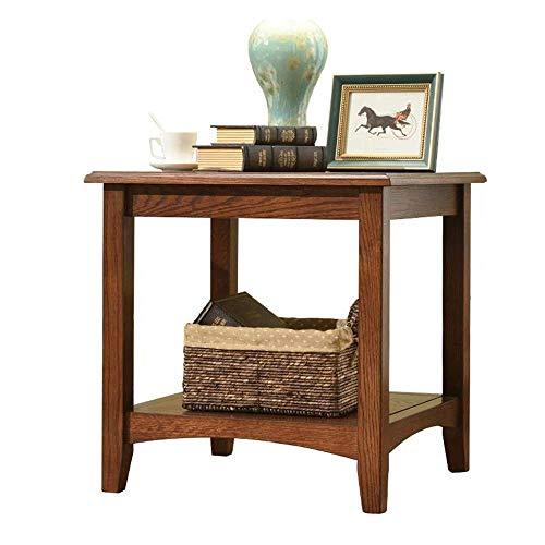 High-End-Beistelltisch, Tische Massivholzsofa Beistelltisch / Nachttisch, Wohnzimmermöbel, quadratischer Tisch, doppelter Beistelltisch , Roteiche für Wohnzimmer Farbe: Holz Roteiche, Größe: 23.6223.