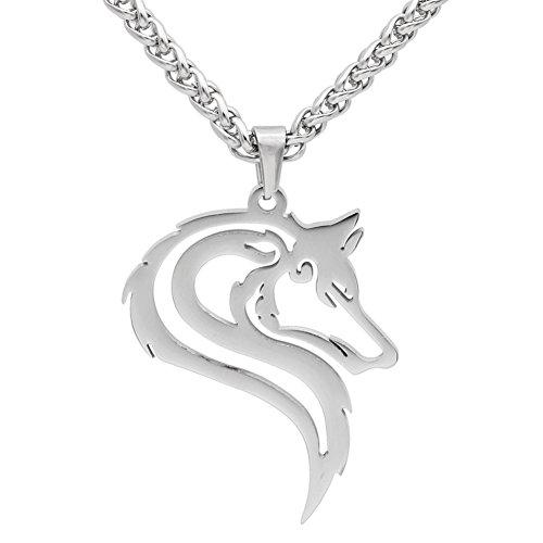 Männer 316L rostfreier Stahl töricht Wikinger oidn's wolf Kopf Kelte Amulett Anhänger Halskette - Edelstahl