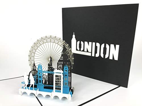 London City Pop-Up-Grußkarte zum Jahrestag, Baby, Happy Birthday, Ostern, Muttertag, Dankeschön, Valentinstag, Hochzeit, Kirigami, Papierhandwerk, Postkarten