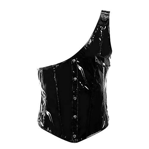 dPois Herren EIN-Schulter Top Shirt Korsett Mieder Steampunk Oberteil aus Lack Leder Gothic Steampunk Kostüm für Party Club Gogo Schwarz Large
