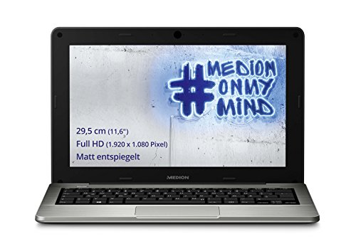 Medion S2217 11,6 Zoll (29,5 cm) Laptop mit mattem Full-HD Display (Intel Atom Z3735F, 2GB RAM, 64GB Flash-Speicher, Intel HD Graphics, Win 10 Home) schwarz