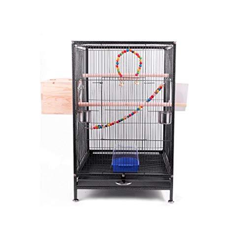 Jaula Para loro Gran perico metal jaula del pájaro del loro del Cockatiel Conure Budgie Lovebird Finch mascotas jaula del pájaro w / escalera juguetes colgantes, 45.5 * 45.5 * 75cm Accesorios Para Páj