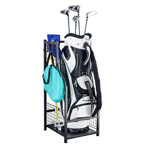 Mythinglogic Golf Storage Garage Organizer,Golf Bag Storage Stand and Other Golfing Equipment Rack,Extra Large Design for Golf Clubs Accessories