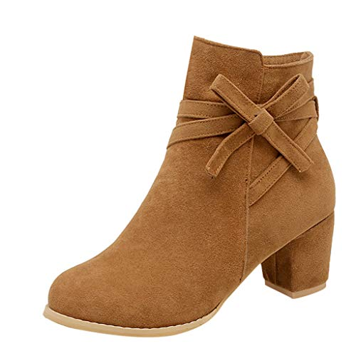 Yowablo Stiefel Frauen Mode dick mit Reißverschluss Stiefeletten Bogen High Heel Schuhe (35,Braun)