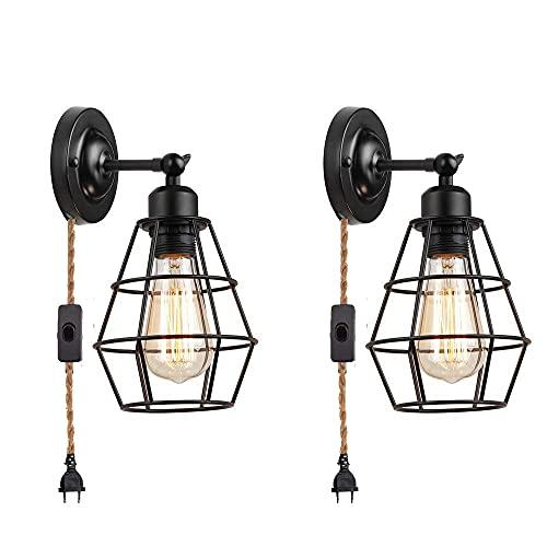 Juego de 2 lámparas de pared vintage con enchufe, interruptor de cable, lámpara de lectura, de metal, ángulo ajustable, casquillo E27, lámpara de pared para dormitorio, cocina, salón,(cable de cáñamo)