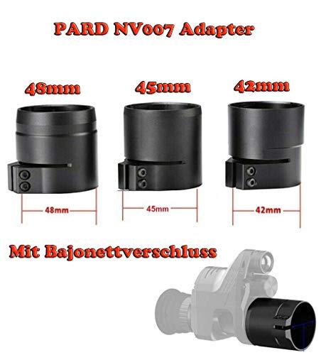 Maximtac Fernglas/Zielfernrohr Adapter für Pard NV007 42mm 45mm 48mm mit Bajonett-Aufnahme Schnellverschluss Größe 42mm