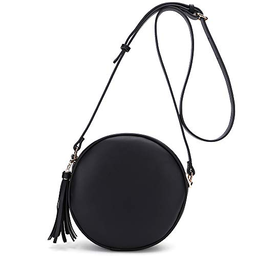 CATMICOO Round Crossbody Purses for Women Circle Bag with Tassel (Black)