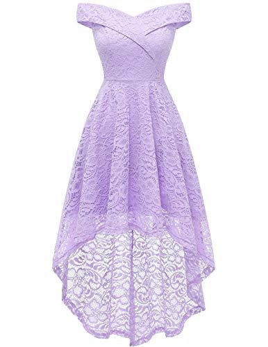 Wedding Dress for Women Formal Dresses Hi-Lo Dresses Floral Lace Off Shoulder Cocktail Dress Lavender 2XL