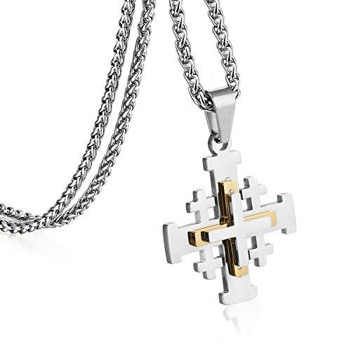 COTTVOTT Stainless Steel Jerusalem Crusaders Cross Pendant Necklaces Women Men Medieval Jewelry (Gold Silver Tone)