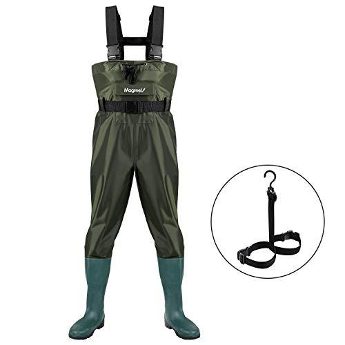 Magreel Wathose Anglerhose Hose mit Stiefel Watstiefel Watt Fisch Teich Gummi PVC Nylon für Herren, EU 42/UK /US 9
