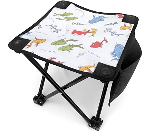 Camping Hocker Dr Seuss One Fish Two Fish Small Camping Stool Fishing Travel Outdoor Folding Stool Portable Oxford Cloth Slacker Stool with Side Pocket for Camping Walking Hunting Hiking Picnic Garde