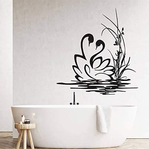Tianpengyuanshuai wandstickers, zwanenpaar, van vinyl, afneembaar voor de badkamer