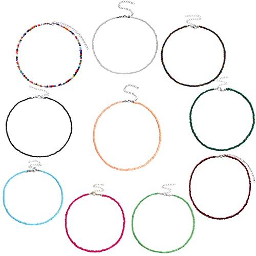 Mikqky 10 Piezas de Joyas de Gargantilla de Cuentas de Colores, Ajustable 12-16 Pulgadas Collar de Gargantilla Boho Colorido, Adecuado para Decoración Femenina para Realzar el Encanto (10 Colores)