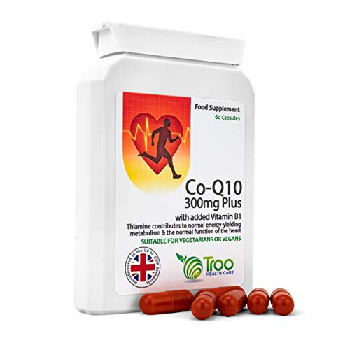 CoQ10 Supplement (300mg Plus) - 60 Capsules - High Strength Trans Form Co Enzyme Q10 | Enhanced with Vitamin B1 | UK Manufactured to GMP Standards