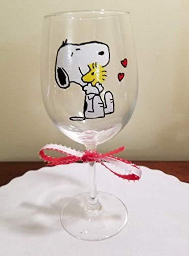 Hand Painted Wine Glass Snoopy and Woodstock 12 oz.