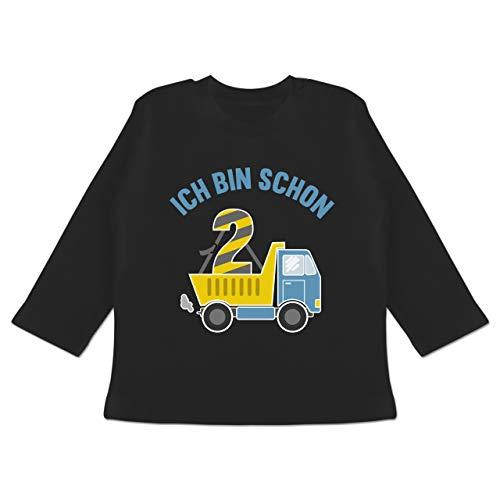 Shirtracer Geburtstag Baby - Ich Bin Schon 2 LKW - 6/12 Monate - Schwarz - Pullover Junge 2 - BZ11 - Baby T-Shirt Langarm