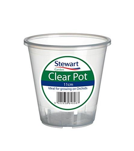 Stewart Plastics - Sottovaso per orchidea,  13 cm, plastica, Clear, 11 cm