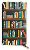 Vintage Library Bookshelf レザーラウンドファスナー長財布メンズ 牛革大容量収纳 整理 財布 小钱包 本革さいふ 紳士 Long Wall