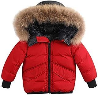 ca3c38f4b03b9 marc janie Boys' Lightweight Packable Hooded Down Puffer Jacket Raccoon Fur  Collar