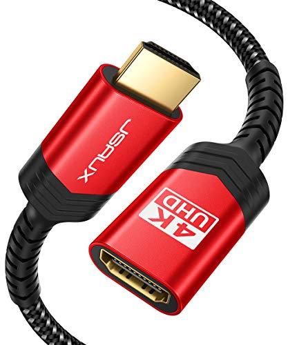 JSAUX HDMI Verlängerung Kabel, HDMI Stecker auf Buchse Verlängerung Kabel HDMI Verlängerungskabel 18Gbps Kompatibel mit TV-Stick, PS4, PS3, Xbox, 4K UHD, Full HD, 3D, ARC, Ethernet, 3M Rot