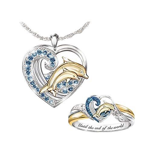 Janly Clearance Sale Collares y colgantes para mujer, moda amor delfín diamante collar anillo conjunto damas tamaño 5-10, joyería y relojes para Navidad Día de San Valentín (A)