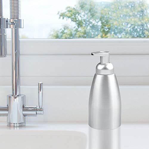 mDesign Modern Metal Foaming Soap Dispenser Pump Bottle for Kitchen Sink Countertop, Bathroom Vanity, Utility/Laundry Room, Garage - Save on Soap - Rust Free Aluminum - 2 Pack - Brushed/Silver