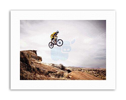Wee Blue Coo Mountain Bike Jump Sky Big Air Picture - Stampa Artistica su Tela