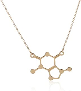 Art Attack Chocolate Molecule Necklace, Caffeine Pendant Gift for Chemistry Science Teacher Professor Grad Student (Gold)