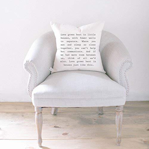 Stan256Nancy - Funda de cojín (40,6 x 40,6 cm), diseño con texto en inglés 'Love Grows', caligrafía, decoración del hogar, regalo de boda, regalo de compromiso, regalo de inauguración de la casa, funda de cojín
